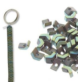 "Hematite (Green) : 1x3mm Chevron 6"" Strand"