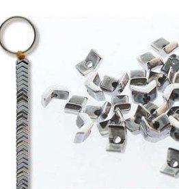 "Hematite (Silver) : 1x3mm Chevron 6"" Strand"