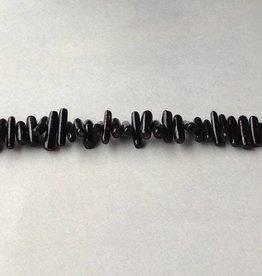 "Coral - Black : 12x3mm Stick 15.5"" Strand"
