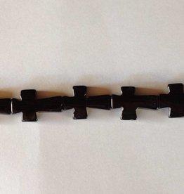 "Black Onyx : 30x20mm Cross 15.5"" Strand"