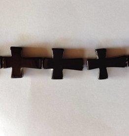 "Black Onyx : 40x30mm Cross 15.5"" Strand"