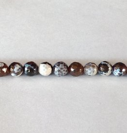 "Cracked Agate (Brown) : 8mm Faceted Round 15.5"" Strand"