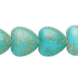 "Magnesite (Turquoise) : 18x17mm Heart 15.5"" Strand"