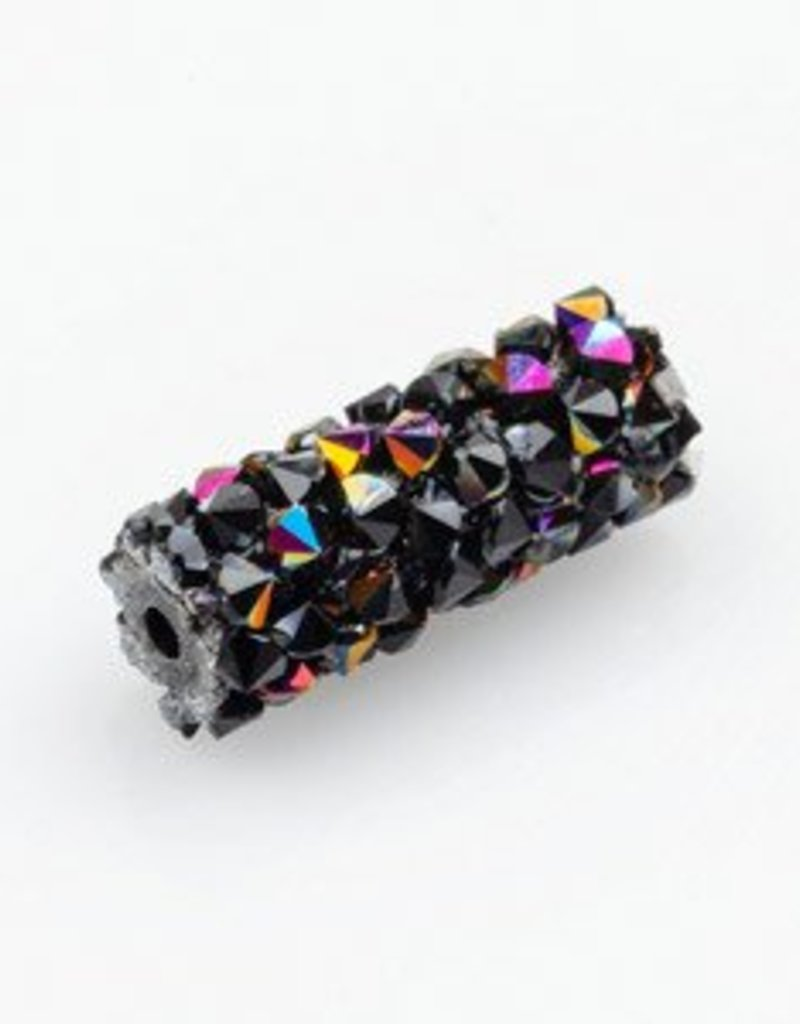 Swarovski 5951 Fine Rocks 15mm Tube Bead : Jet & Astral Pink