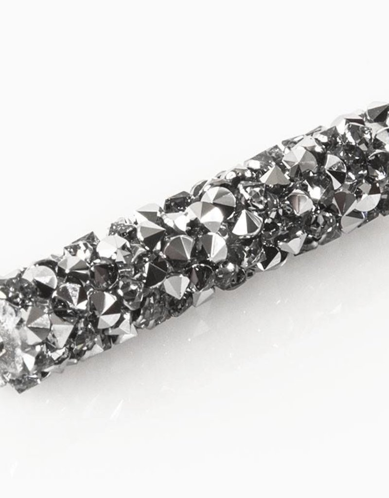 Swarovski 5951 Fine Rocks 30mm Tube Bead : Crystal Light Chrome