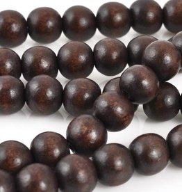 """10mm Round Chocolate Wood Bead 16"""" Strand"""