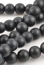 "6mm Round Charcoal Wood Bead 16"" Strand"