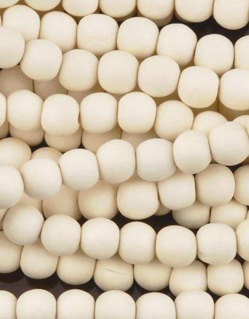 """6mm Round White Wood Bead 16"""" Strand"""