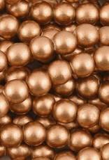 "6mm Round Copper Wood Bead 16"" Strand"