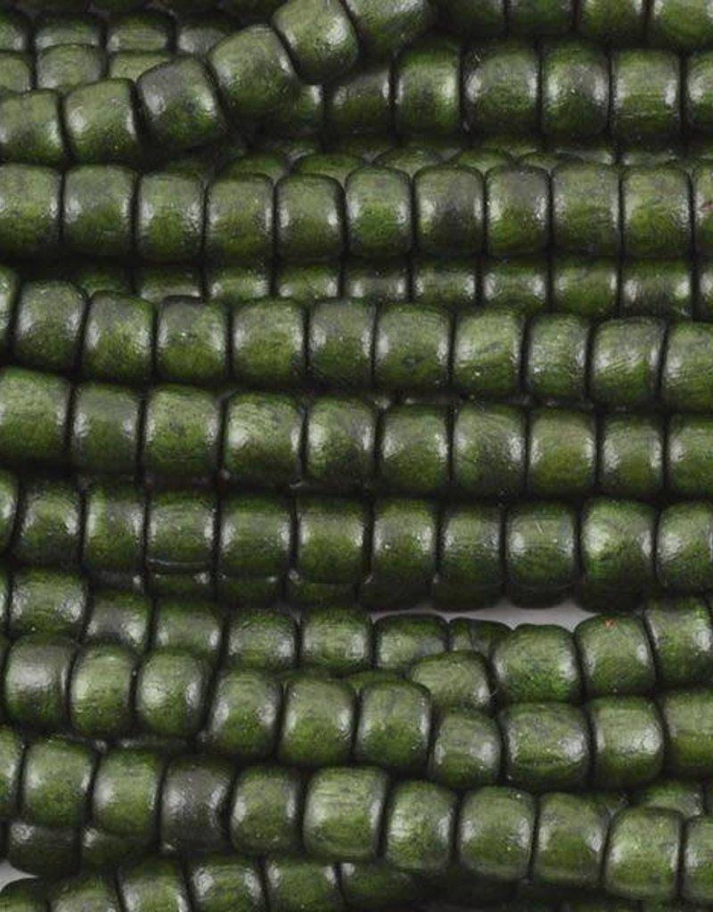 "4x5mm Tube Dark Forest Green Wood Bead 16"" Strand"