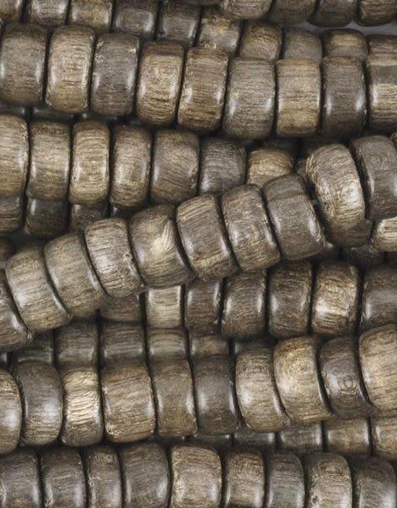 """8x4mm Heishi Greywood Wood Bead 16"""" Strand"""