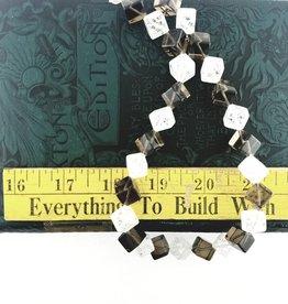 "Smoky & Crystal Quartz : 14mm Diagonal Cube 15.5"" Strand"