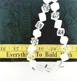 "Cracked/Crystal Quartz : 16mm Diagonal Cube 15.5"" Strand"
