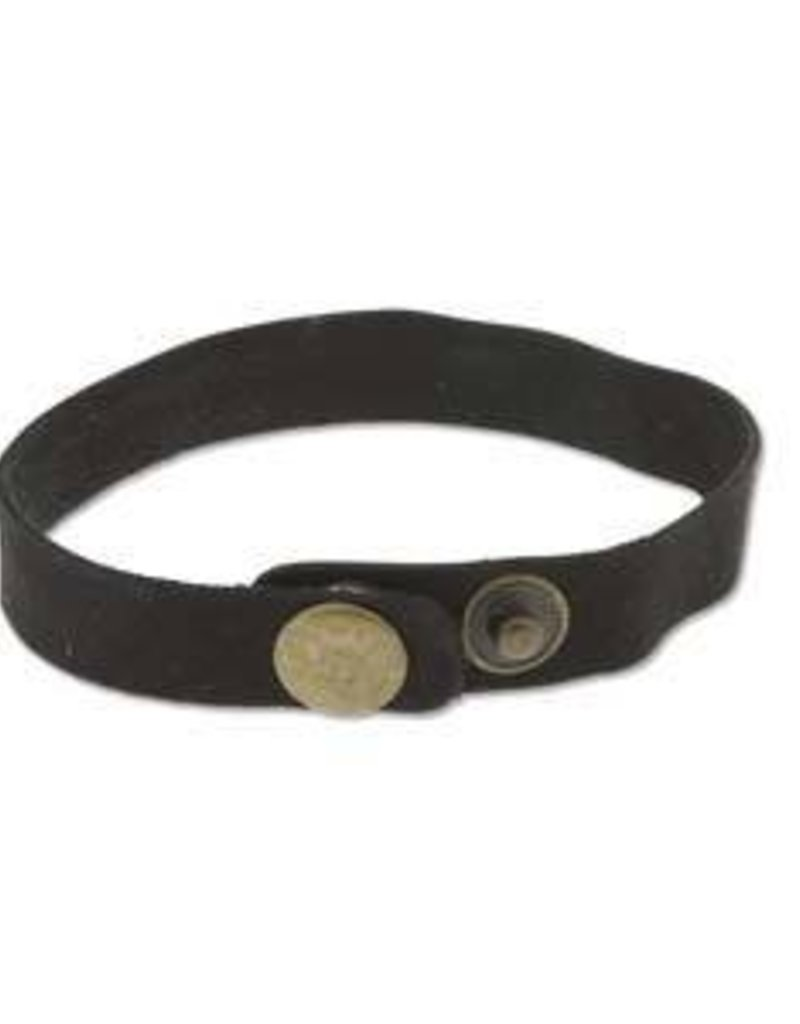 """9""""x.5"""" Leather Cuff with Snaps : Black"""