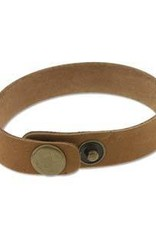 """9""""x.5"""" Leather Cuff with Snaps : Tan"""