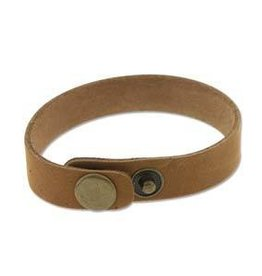 "9""x.5"" Leather Cuff with Snaps : Tan"