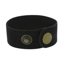 "9""x1"" Leather Cuff with Snaps : Black"
