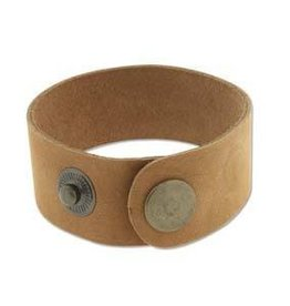 "9""x1"" Leather Cuff with Snaps : Tan"