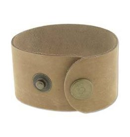 "9""x1.5"" Leather Cuff with Snaps : Natural"