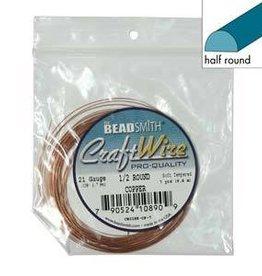7 YD 18GA Half Round Craft Wire : Copper