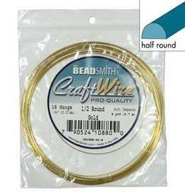 4 YD 18GA Half Round Craft Wire : Gold