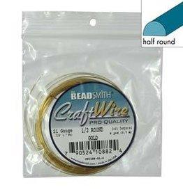 4 YD 21GA Half Round Craft Wire : Gold