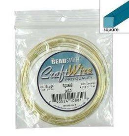 4 YD 21GA Square Craft Wire : Gold