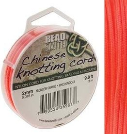 3 Meter 2mm Knotting Cord : Neon Deep Orange