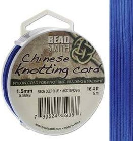5 Meter 1.5mm Knotting Cord : Neon Deep Blue