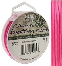3 Meter 2mm Knotting Cord : Neon Pink