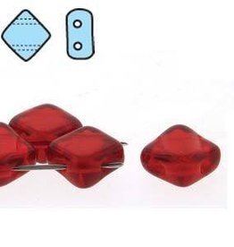 40 PC 6mm 2 Hole Silky : Ruby