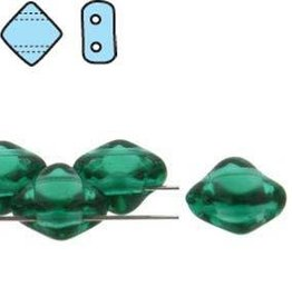 40 PC 6mm 2 Hole Silky : Teal