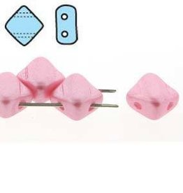 40 PC 6mm 2 Hole Silky : Pastel Pink