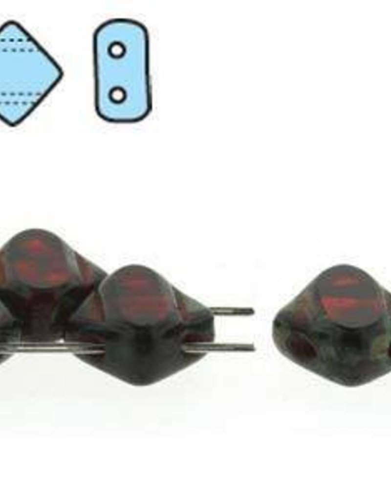 40 PC 6mm 2 Hole Silky : T.C. Ruby Picasso