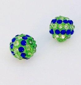 2 PC 8mm Seahawks Bling Ball Lime/Royal Blue