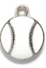 1 PC White/Silver 13x16mm Baseball Charm