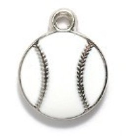 1 PC White/Silver 13x16mm Baseball Charm