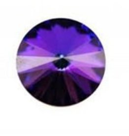 2 PC 12mm Swarovski Rivoli : Crystal Heliotrope Foil Back