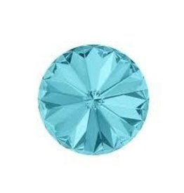 2 PC 12mm Swarovski Rivoli : Light Turquoise Foil Back