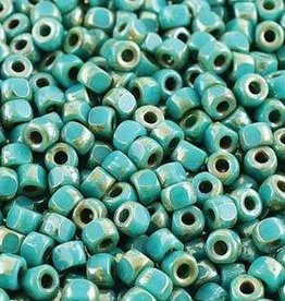 8.3 GM 6/0 Matubo 3 Cut : Opaque Turquoise Green Picasso (APX 125 PCS)
