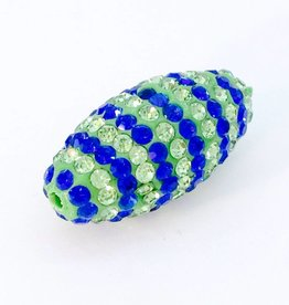 1 PC Seahawks Bling Oval Lime/Royal Blue Striped 24x12mm
