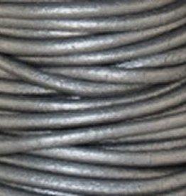 2 YD 1mm Leather Cord : Metallic Grey