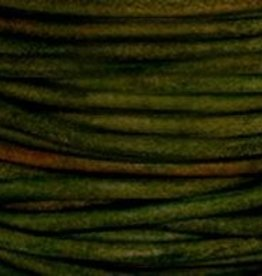 2 YD 1mm Leather Cord : Natural Dark Green