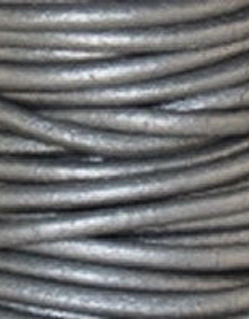 2 YD 2mm Leather Cord : Metallic Grey