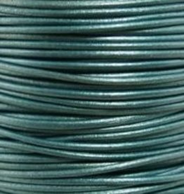 2 YD 2mm Leather Cord : Metallic Truly Teal