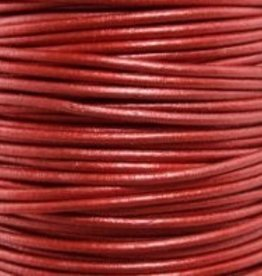 2 YD 2mm Leather Cord : Metallic Moroccan Red