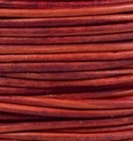2 YD 2mm Leather Cord : Natural Red