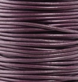 2 YD 2mm Leather Cord : Metallic Berry