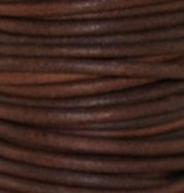 2 YD 2mm Leather Cord : Natural Red Brown