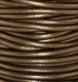 2 YD 2mm Leather Cord : Metallic Kansa